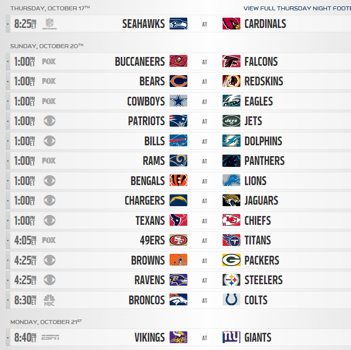 It is a photo of Nfl Week 8 Printable Schedule within aaf